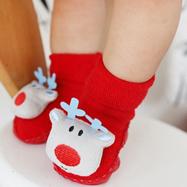 1-pair Stylish Christmas Pattern Design Antiskid Socks
