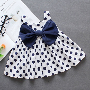 Sassy Polka Dots Bow Knot Decor Sleeveless Dress for Baby and Toddler