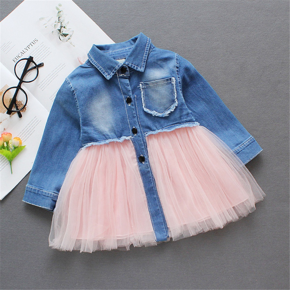 01781415e9b Toddler Pretty Lapel Collar Frayed Denim and Mesh Splice Dress at ...