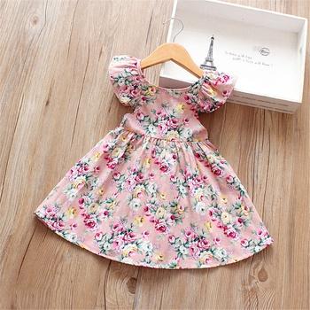 14bda7a03b50 Pretty Floral Print Backless Tie-up Flutter-sleeve Dress