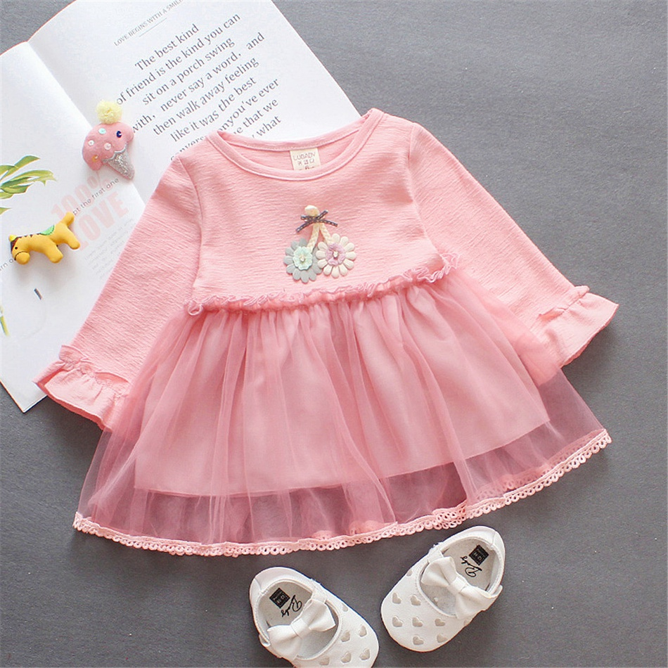 071a030a80f Baby Baby  Toddler Girl s Flower Applique Tulle Dress at PatPat.com