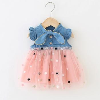 Baby Star Embroidered Denim Dresses