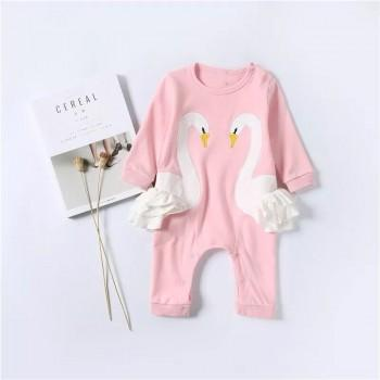 Sweet Swan Embroidered Long-sleeve Jumpsuit in Pink for Baby
