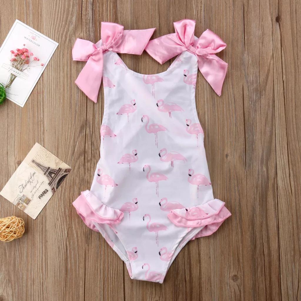 Baby Girl Dress Halter Tie Swimsuit Baby Color Sling Swimsuit Infant Kids Clothing Swimwear
