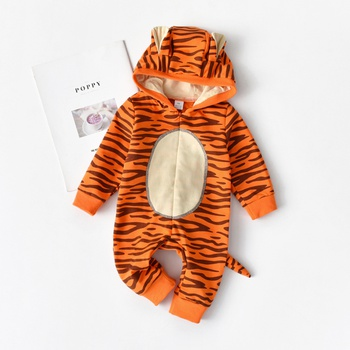 Lovely Tiger Modeling 3D Ear and Tailing Decor Hooded Jumpsuit