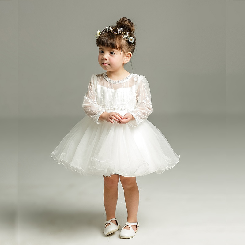 37d968b54 Sweet Lace Bowknot Mesh Long Sleeve Party Dress in White for Baby Girls