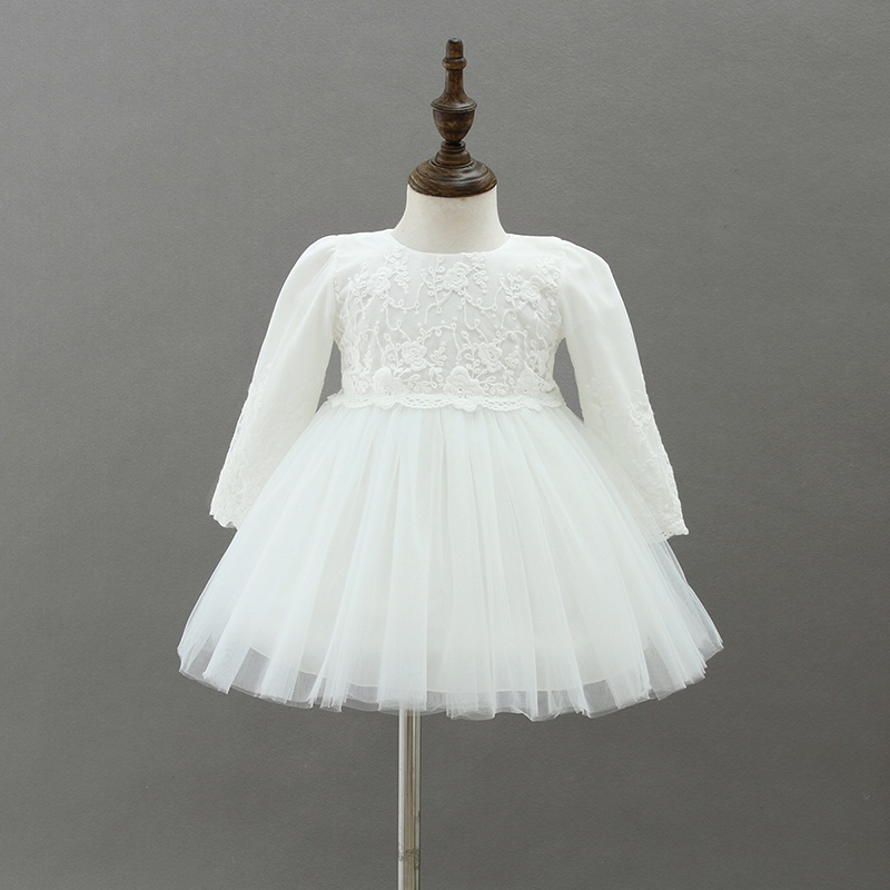 d3195cbb4 Baby Girl's Sweet Lace Bowknot Long Sleeve Mesh Party Dress with Hat in  White