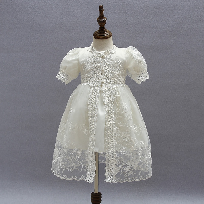 b099b3388d530 Baby Girl s Sweet Lace Embroidered Cardigan and Short-sleeve Dress Set in  White