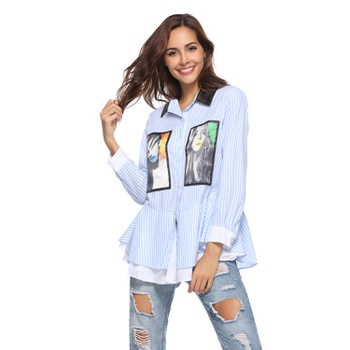 Double collar Stripes Blue Embroidered patch long sleeve casual Shirt