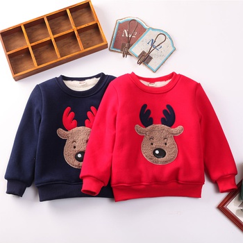 Baby and Toddler's Deer Appliqued Fleece-lined Pullover