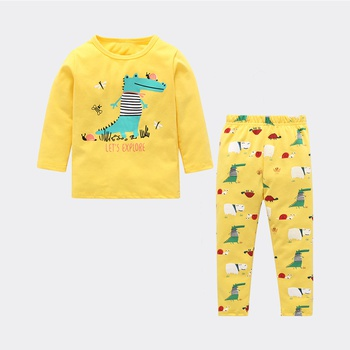 Cute Dino Print Long-sleeve Top and Pants Set for Baby and Toddler