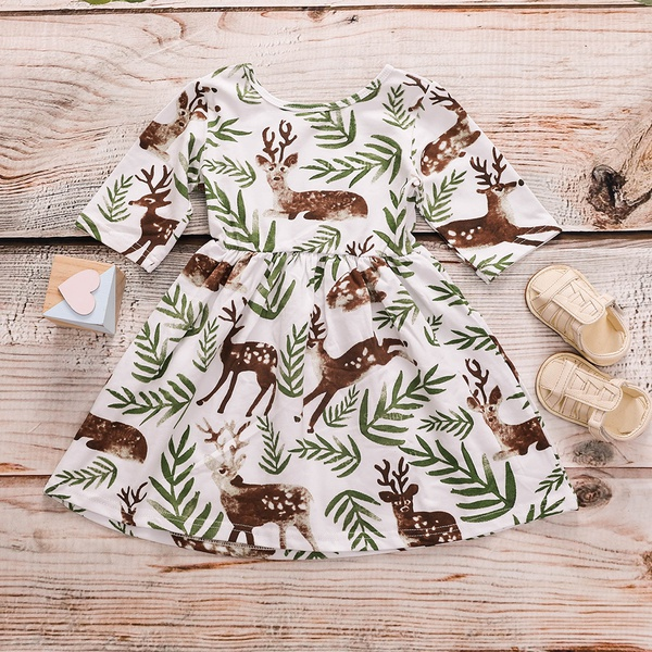 Stylish Leaf and Deer Print Short-sleeve Dress for Baby and Toddler Girl