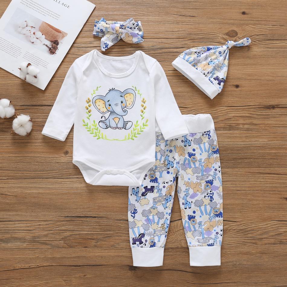 45447c46c20b Baby 4-piece Lovely Elephant Print Romper, Pants, Headband and Hat ...