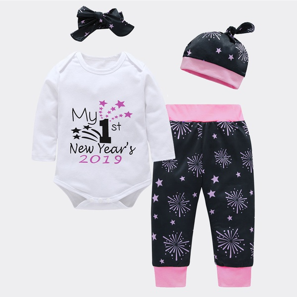 "Casual ""My 1st New year's"" Bodysuit , Firework Print Pants, Hat and Headband Set"