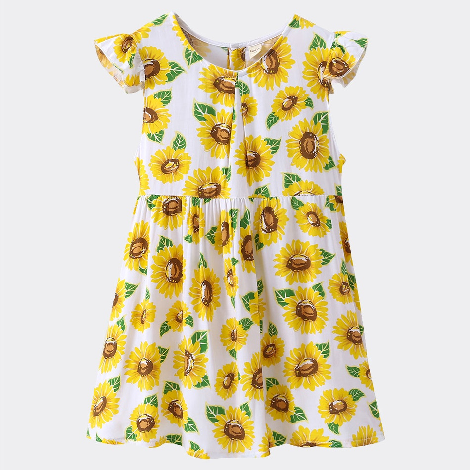 be7baedd91a8 Baby Toddler Girl's Sunflower Print Flutter-sleeve Dress at PatPat.com