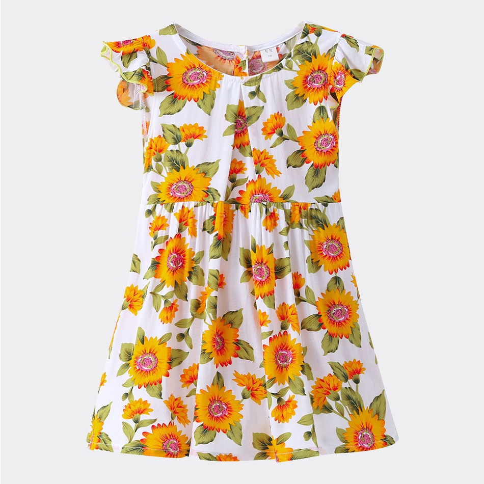 55585ac86cf0 Baby Toddler Girl's Sunflower Flutter-sleeve Dress at PatPat.com
