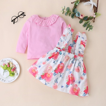 Baby / Toddler Solid Ruffled Top and Floral Strap Skirt Set