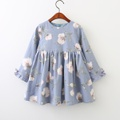 Stylish Floral Ruffled Long-sleeve Dress for Baby Girl/Girl