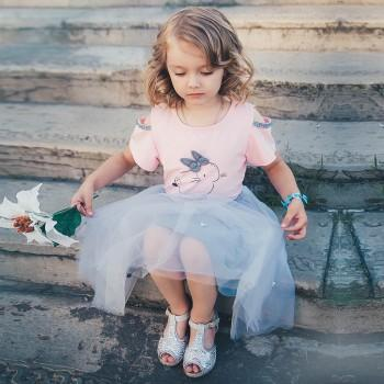 e30d6ae94cdf Sweet Rabbit Ear Decor Cold-shoulder Short-sleeve Tee and Tutu Skirt Set  for Toddler Girls and Girls
