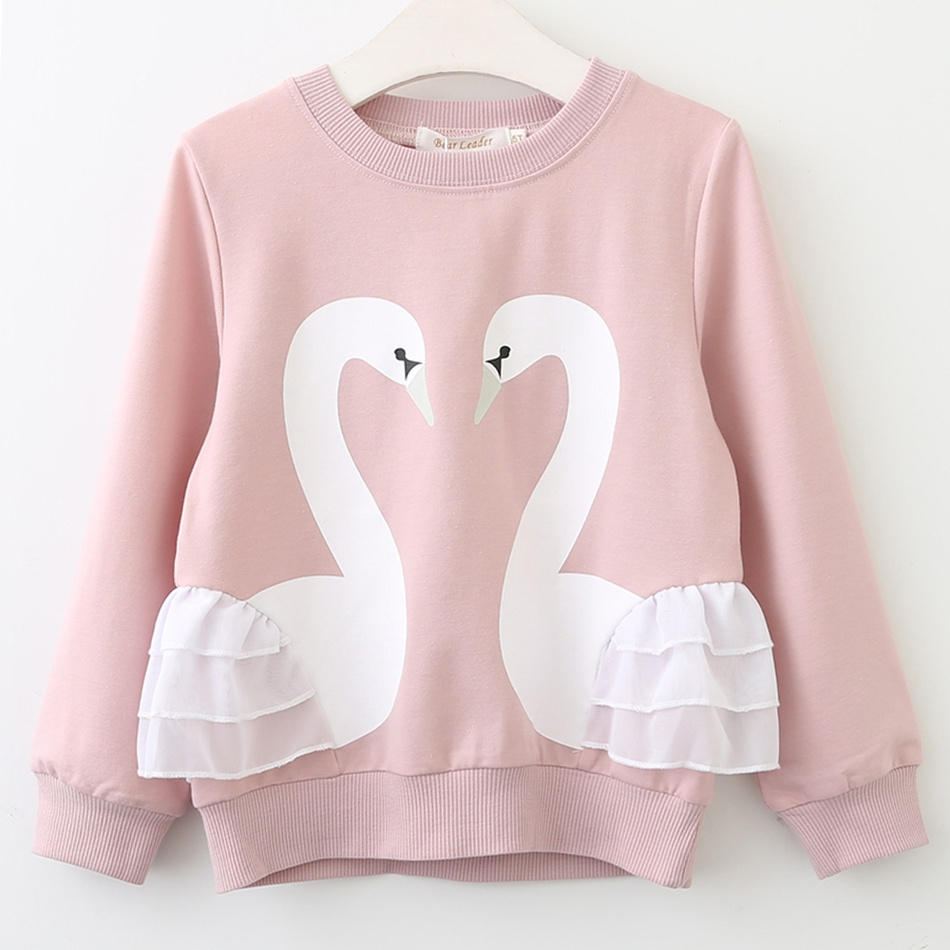 07a4a960f Toddler Toddler Girl's Swan Print Ruffled Long-sleeve Pullover at ...
