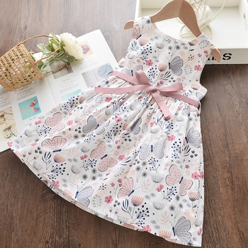 Toddler Girl Pretty Butterfly Print Bowknot Dress