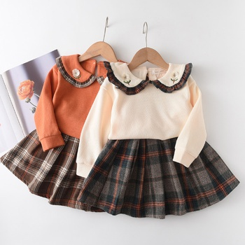 2-piece Baby / Toddler Embroidery Plaid Ruffled Top and Skirt Set