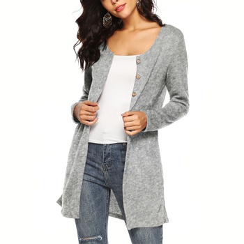 4d300f8faa216 Fashionable Solid Long-sleeve Cardigan