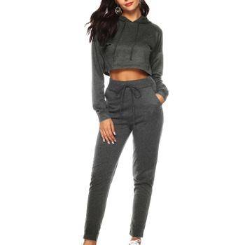 2-piece Trendy Long-sleeve Hoodie And Sweatpants