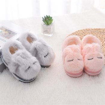 Toddler / Kid Solid Animal Sleepy Rabbit Fluff Casual Thermal Slippers