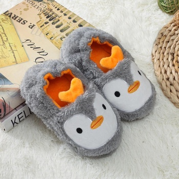 Toddler / Kid Animal Penguin Embroidered Fluff Thermal Slippers