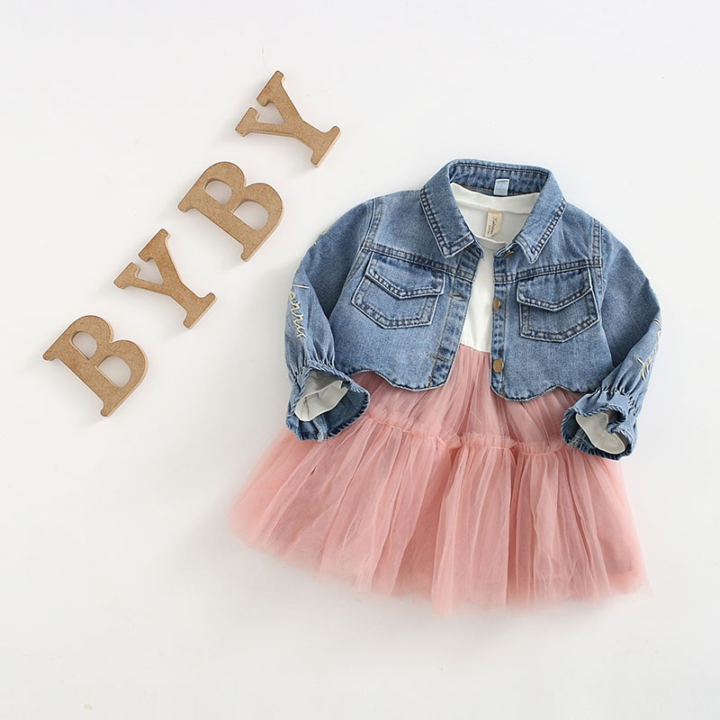 ad431960cdd Baby  Toddler Girl s Ruffled Tulle Dress and Letter Embroidery Denim Jacket