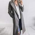 Elegant Solid Woolen Overcoat