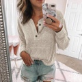 Charming Button Long-sleeve Top