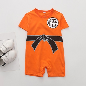 7037dfac4468 Baby s Chinese Style Short Sleeves Romper in Orange