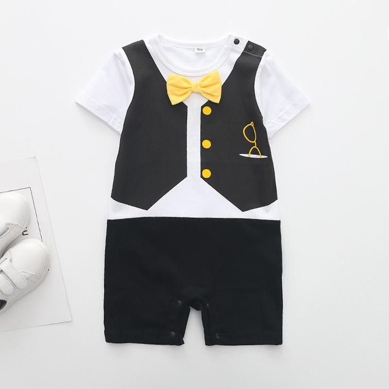 d021116f06076 Baby faux-deux décor cravate arc tendance à manches courtes barboteuse pour  le bébé at PatPat.com