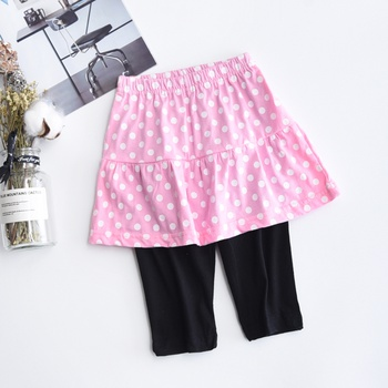 Comfy Dotted Pants with Fake Skirt