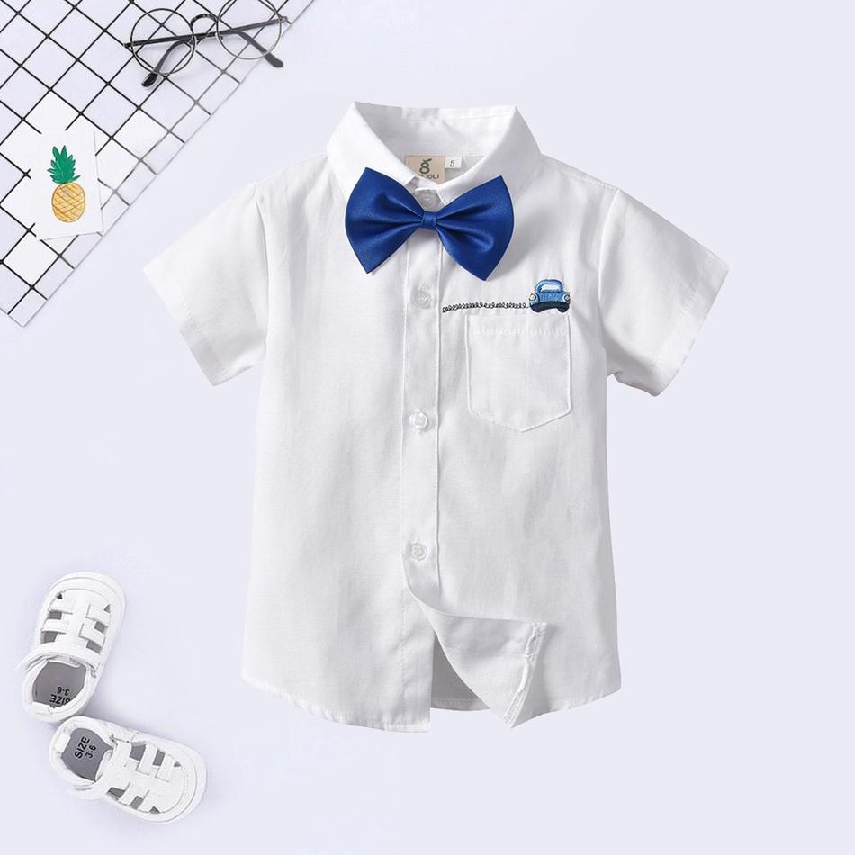 b00e2d3846b40 Toddler bébé / enfant voiture noeud papillon bleu manches courtes chemise  brodée at PatPat.com