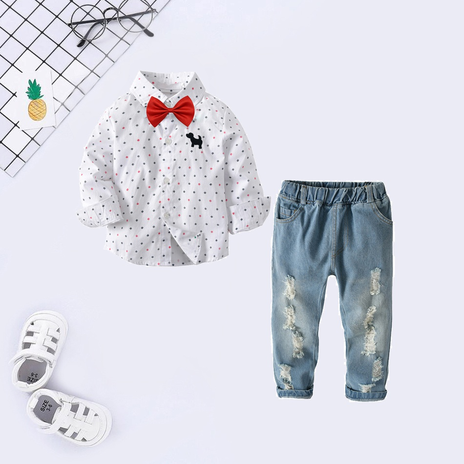 f7635c7a Baby / Toddler Bow Tie Decor Dog Print Dotted Shirt and Suspender Jeans Set
