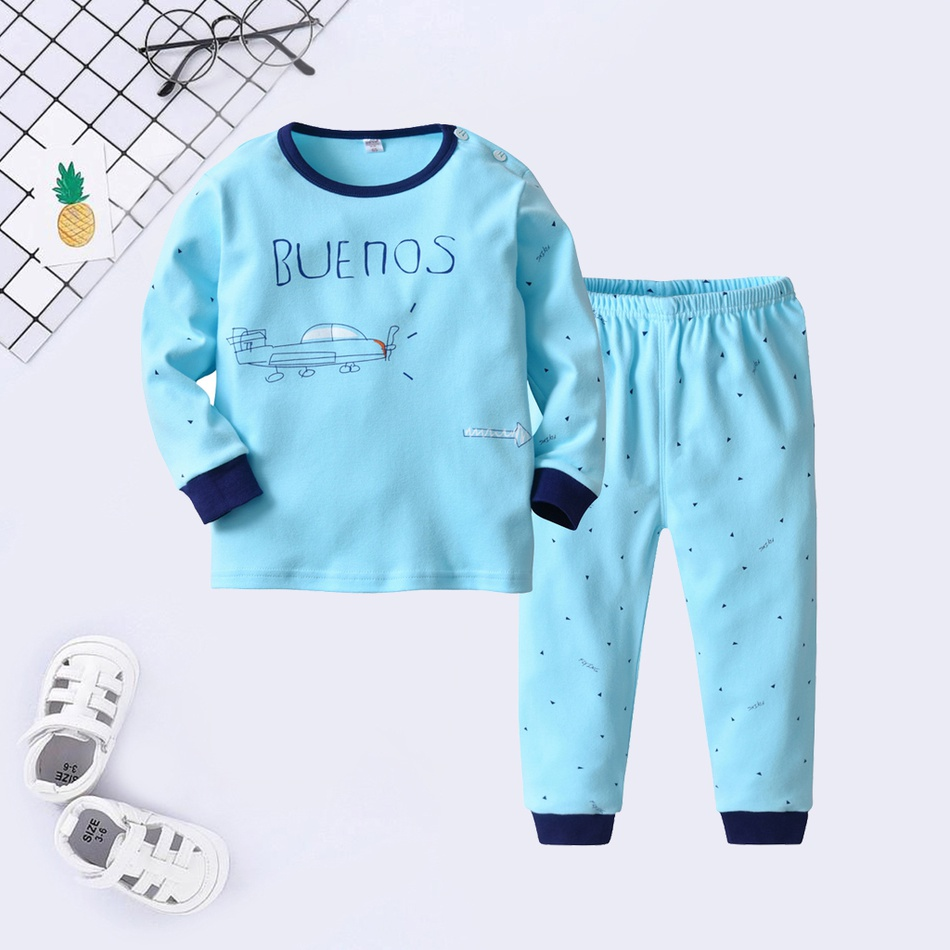 15a94cb6fe6b Baby / Toddler BUENOS Plane and Little Triangles Print Top and Pants  Pajamas Set
