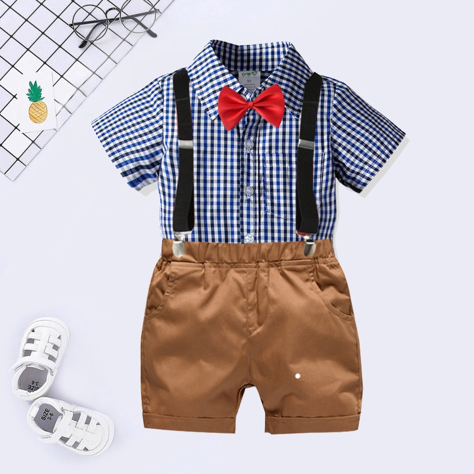 e2dcbf6265c Baby Baby / Toddler Gentleman Bow Tie Plaid Shirt and Suspender ...