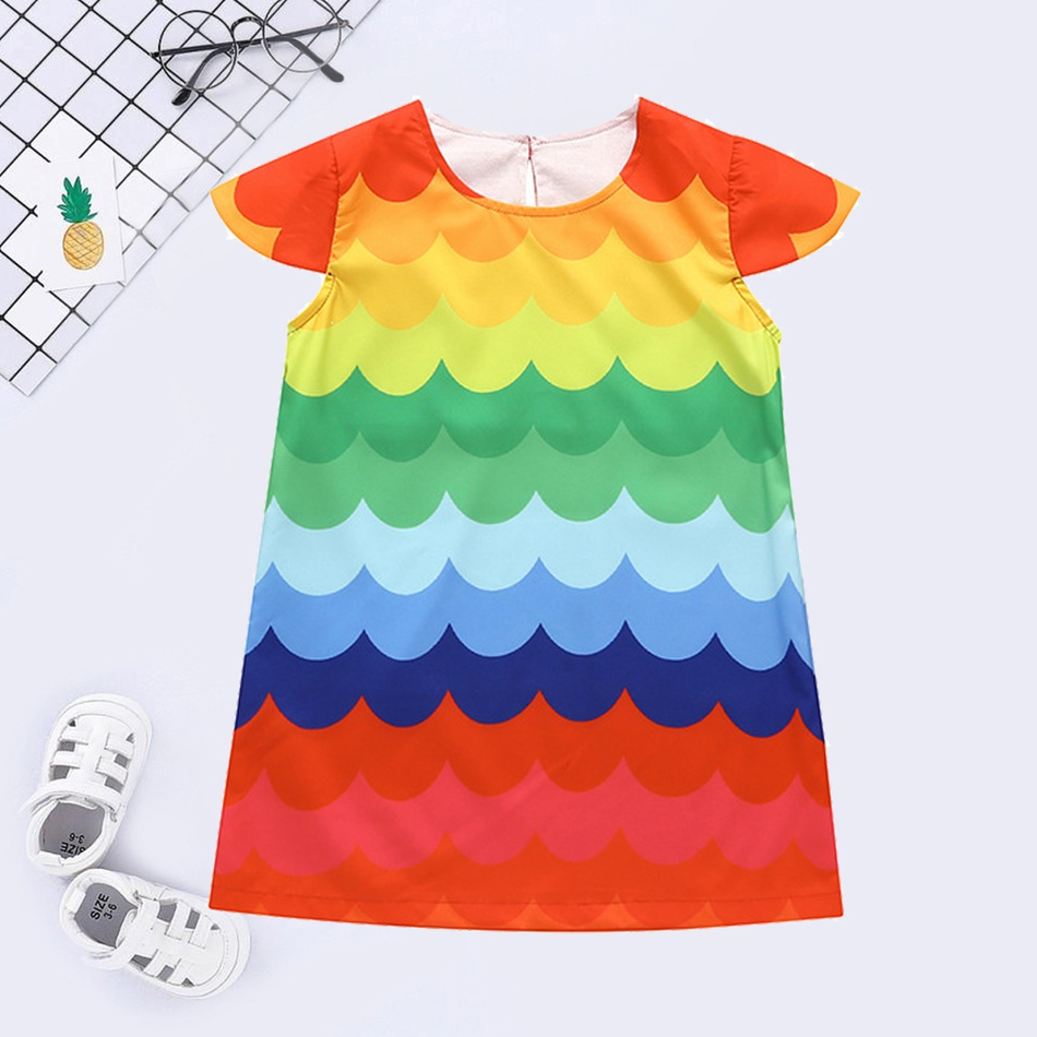 30f8ebfc7a6e Baby Baby/ Toddler Girl's Colorful Wave Print Flutter-sleeve Dress ...