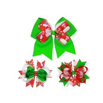 3-piece Christmas Color Blocked Bowknot Hair Clips Set