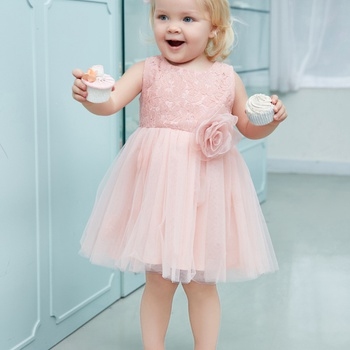 Toddler Girl s Chic 3D Flower Decor Tulle Party Dress in Pink 43840dd02