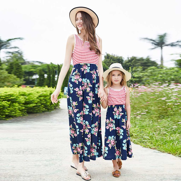 Fashionable Floral Sleeveless Dress for Mom and Me