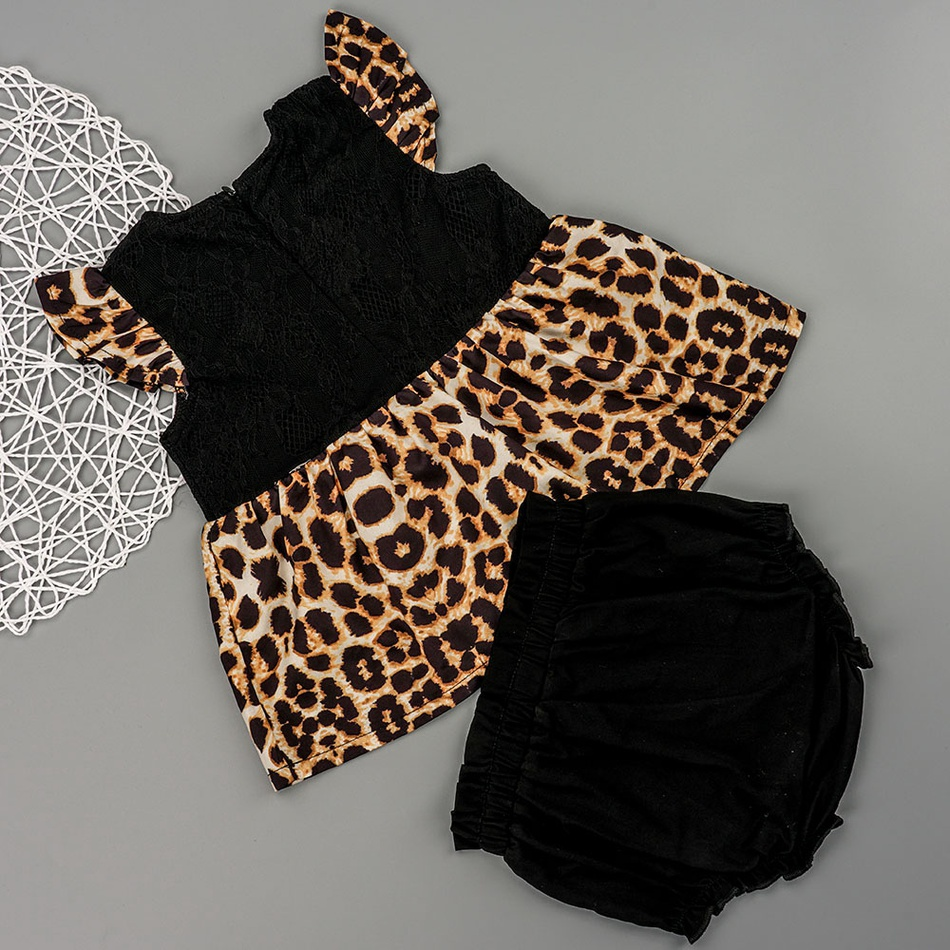 f714c26f76bd Baby / Toddler Leopard Print Flutter-sleeve Flounced Top and Solid Shorts  Set