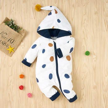 Baby Polka Dots Hooded Jumpsuits