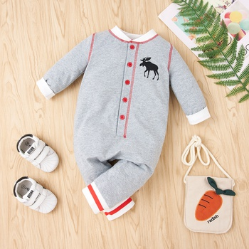 Baby Christmas Elk Plaid Jumpsuit