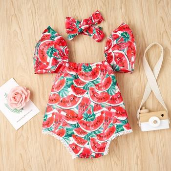 Sweet Watermelon Printed Ruffle-sleeve Bodysuits for Baby Girl
