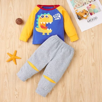 2pcs Baby Boy casual Animal & Dinosaur Baby's Sets Cotton Long-sleeve Infant Clothing Outfits