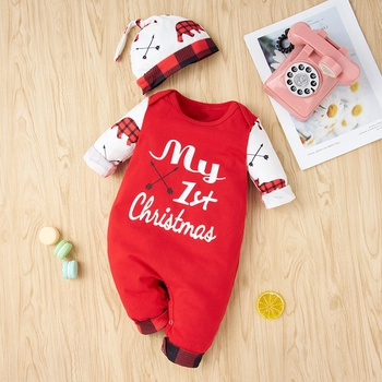 2-piece Baby Christmas Letter Jumpsuit with Hat